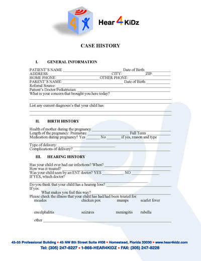 Case History (ENG) Form - Hear 4 U