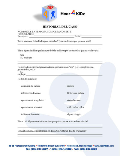 Case History (SPN) Form - Hear 4 U