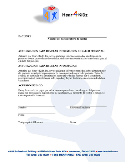 Patient-Family Agreement (SPN) Form - Hear 4 U